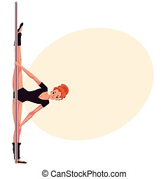 Young pole dance woman in black leotard doing hand stand -...