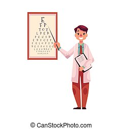 Optometrist doctor pointing to a letter on eye examination...
