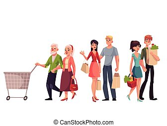 Young, middle aged and old, senior couples shopping