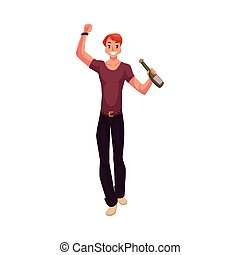 Young man dancing with beer bottle at party, night club -...