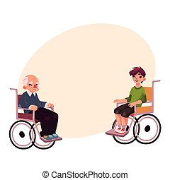 Old man and teenaged boy sitting in wheelchairs, cartoon...