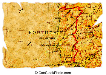 Portugal old map - Portugal on an old torn map from 1949,...