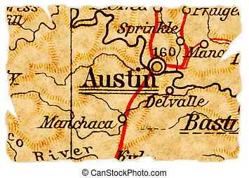 Austin old map - Austin, Texas on an old torn map from 1949,...