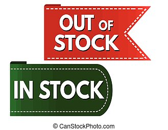 In stock and out of stock sign or stamp