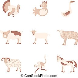 Farm animals icon set