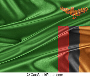 Zambia flag with a glossy silk texture. - Zambia flag. Flag...
