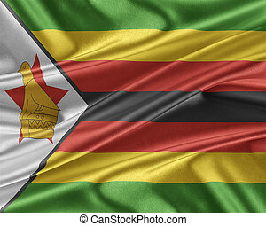 Zimbabwe flag with a glossy silk texture. - Zimbabwe flag....