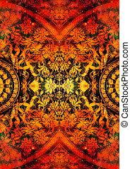 filigrane floral ornament with mandala shape on cosmic...