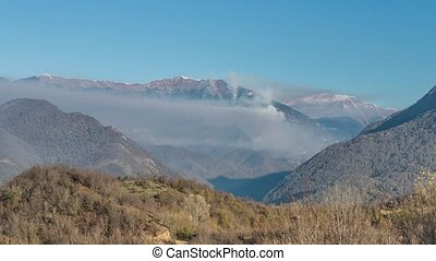 Abkhazia Caucasus Mountains - Fog in the mountains at the...