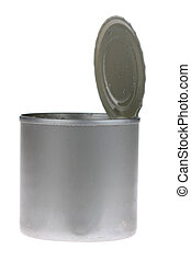 Open Tin Can - A photo of an open tin can set against a...