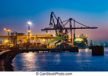 Container ship in port - Container ship at night in Port of...