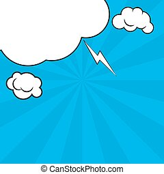 Comic pop art blue background with halftone shadows and clouds beams. Vector mock-up of a typical comic book page. Illustration eps 10 template retro design