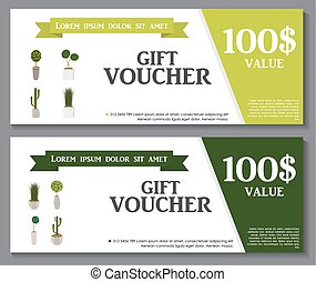 Gift Voucher Template with Green Plant in flowerpot. Discount Coupon. Vector Illustration.