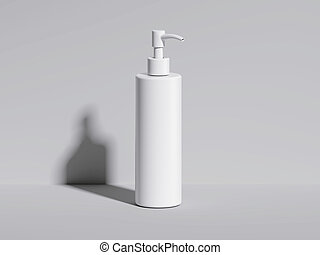 Cosmetic white bottle in bright studio. 3d rendering -...