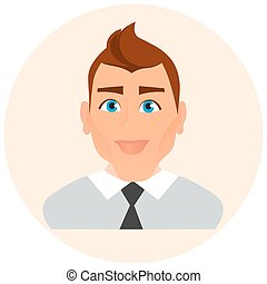 Faces Avatar in circle. Male Portrait Business Man. Vector...
