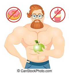 Fitness concept with sport bodybuilder Bearded Hipster with glasses and Red Hair. Muscular Fitness models. Useful and harmful food. Vector illustration isolated on white background.