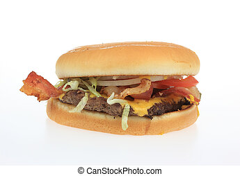 Hamburger - A photo of a hamburger set against a white...