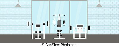 Fitness gym interior template with sports equipments and...
