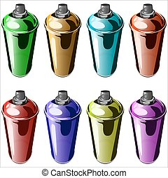 spray paint to paint graffiti on a white background vector