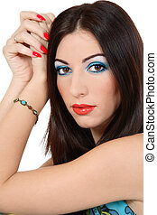 Brunette with bright makeup