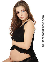 Sexy pregnant woman - Beautiful pregnant woman in sexy black...