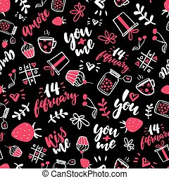 Valentine s Day vector seamless pattern. Isolated Artistic doodle drawings, lettering, love quotes.