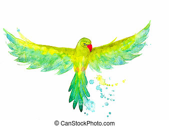 A Watercolor Parrot In The Flying