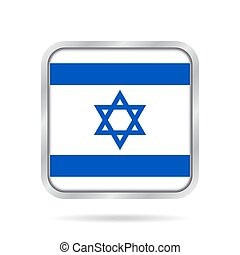 Flag of Israel. Shiny metallic gray square button. -...