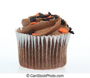 Chocolate Cupcake - A photo of a chocolate cupcake set...