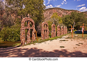 Crosses at Santuario de Chimayo in Northern New Mexico