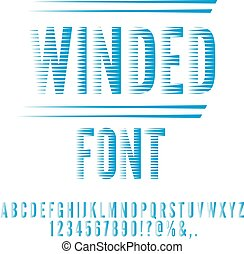 Winded stylized font - Winded stylized, blue colored retro...