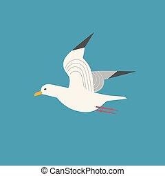 Sea gull icon. Freehand cartoon style. Flying seagull bird...