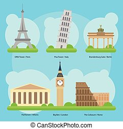 Vector illustration of Monuments and landmarks in Europe Set 1