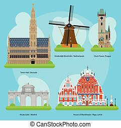 Vector illustration of Monuments and landmarks in Europe Set 3