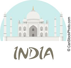 Travel India badge. Taj Mahal vector illustration with white...
