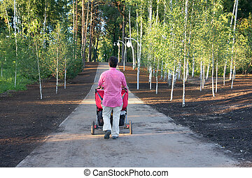 Young father with twin pram walking in summer park - young...