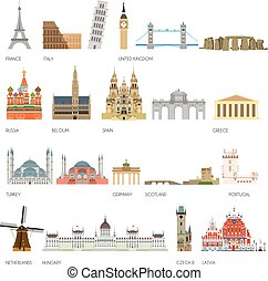 Set of 20 Monuments of Europe. Vector illustration