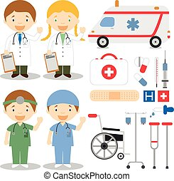 Doctor and nurses characters vector illustration, with medical icons and objects set