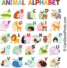 Cute cartoon zoo illustrated alphabet with funny animals....