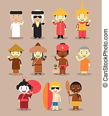 Kids and nationalities of the world vector: Asia and...