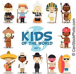 Kids of the world vector illustration: Nationalities Set 3....