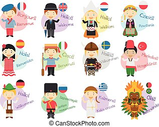 Vector illustration of cartoon characters saying hello and...
