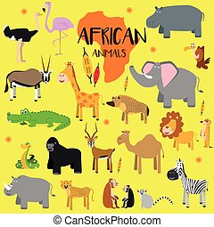 Vector set African animals. Flat style character. Vector...