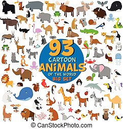 Big set of 93 cute cartoon animals of the world. Vector...