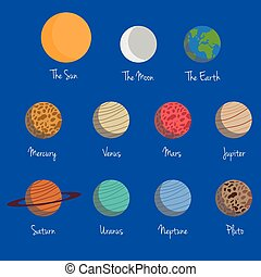 Planets of the Solar System Vector Illustration Set, with...