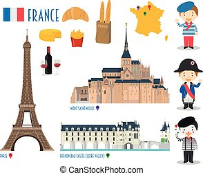 France Flat Icon Set Travel and tourism concept. Vector...