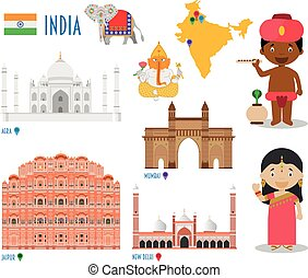 India Flat Icon Set Travel and tourism concept. Vector...