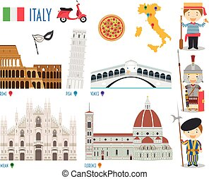 Italy Flat Icon Set Travel and tourism concept. Vector...