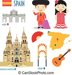 Spain Flat Icon Set Travel and tourism concept. Vector...