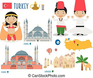 Turkey Flat Icon Set Travel and tourism concept. Vector...